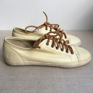 Frye Women US 6 Cream Leather Lace-Up Shoes